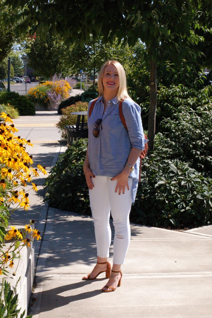 Chambray Shirtdress with Fringe Backpack