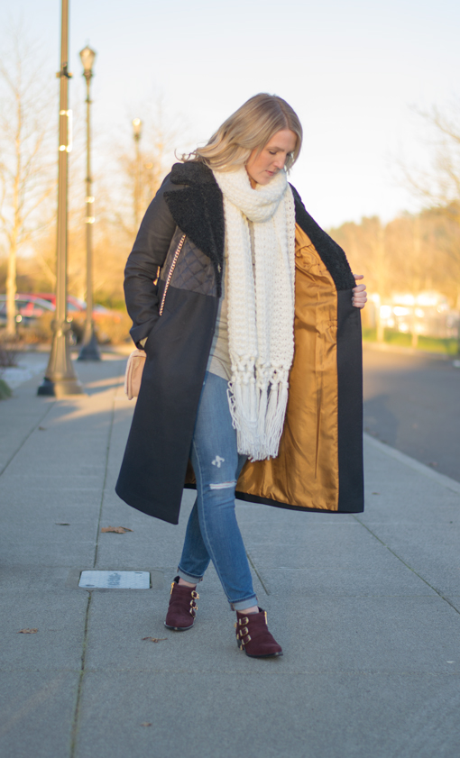 Textured Coat with Buckled Booties!